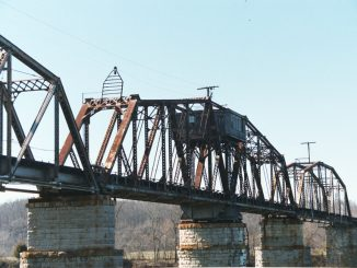 The historic swing bridge over the Cumberland River in Clarksville, Tennessee.