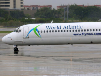 A World Atlantic Airlines flight taxis at Miami International Airport on July 26, 2015.