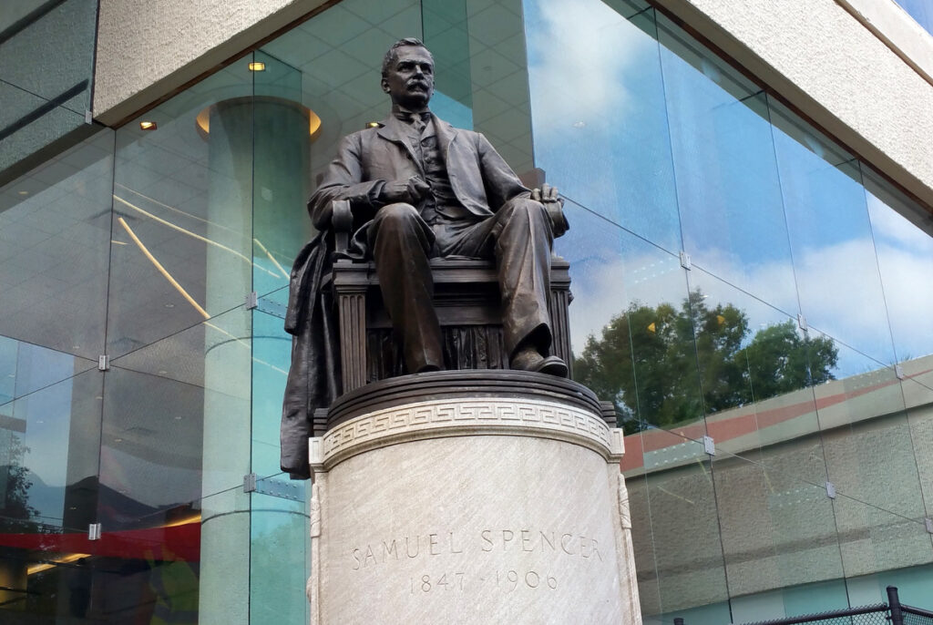 A statue of Samuel Spencer stands outside the Norfolk Southern building in Midtown Atlanta on Aug. 27, 2015. (Photo by Todd DeFeo/The DeFeo Groupe)