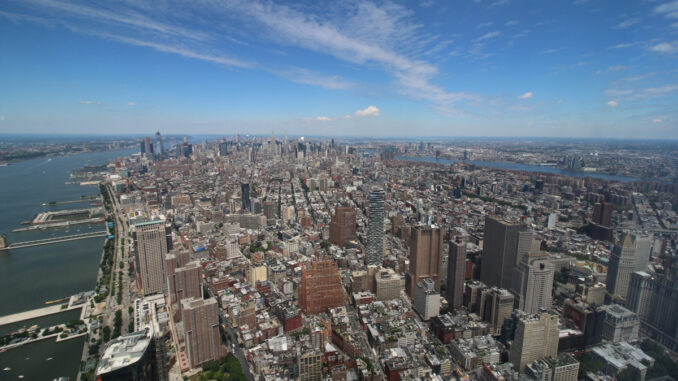 A view of New York City from One World Observatory.